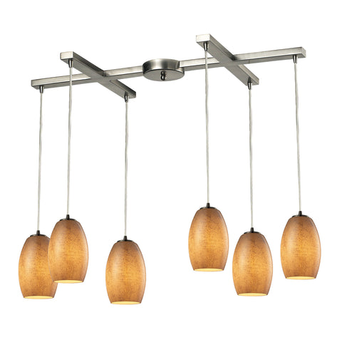Andover 6 LED Light Pendant In Satin Nickel And Textured Beige Glass