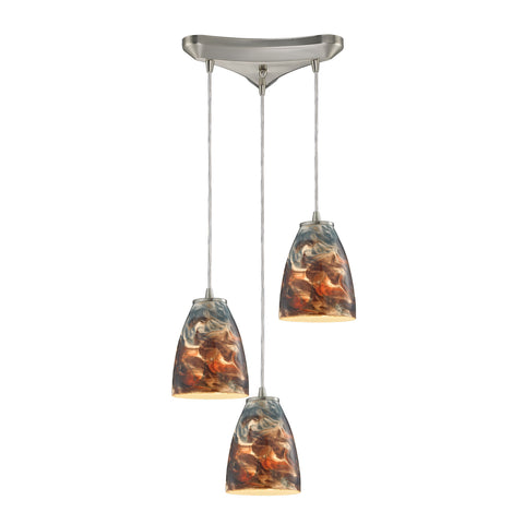 Abstractions 3 Light Pendant In Satin Nickel