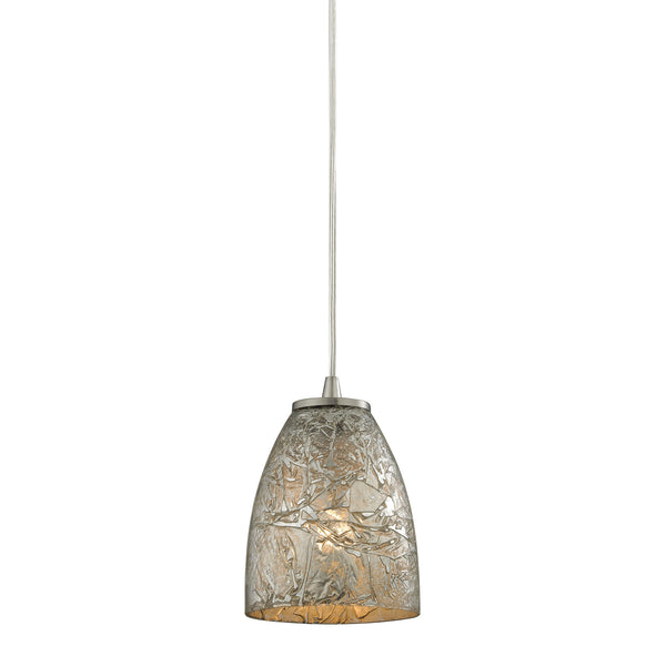 Fissure 1 Light Pendant In Satin Nickel And Silver Glass
