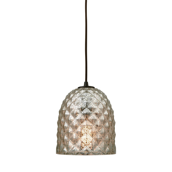 Brimley 1 Light Pendant In Oil Rubbed Bronze With Raised Diamond Texture Mercury Glass - Includes Recessed Lighting Kit