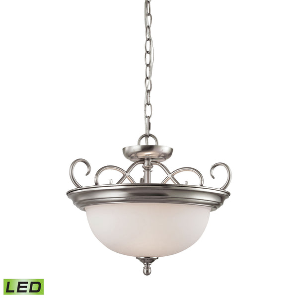 Thomas Chatham 2 Light LED Convertible Semi Flush Pendant In Brushed Nickel