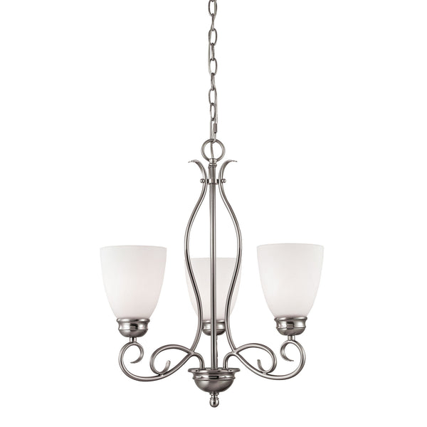 Thomas Chatham 3 Light EEF Chandelier In Brushed Nickel