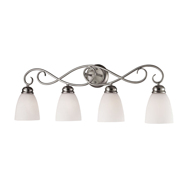 Thomas Chatham 4 Light Vanity In Brushed Nickel And White Glass