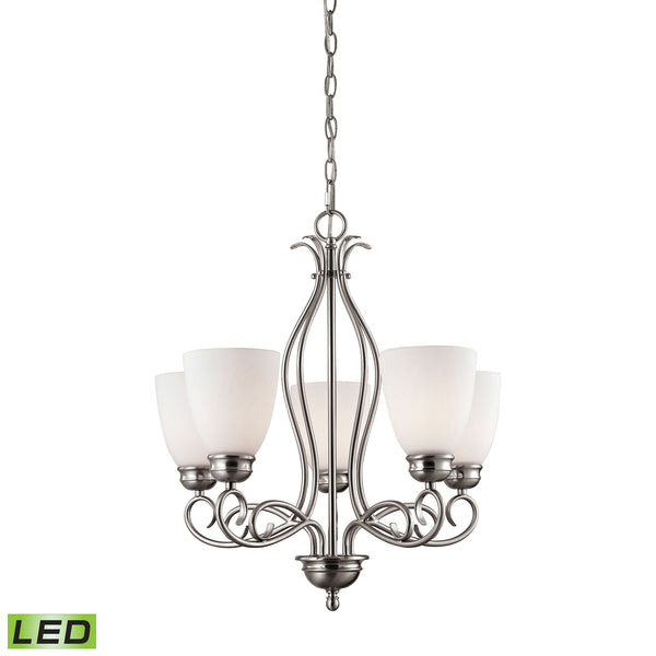 Thomas Chatham 5 Light LED Chandelier In Brushed Nickel
