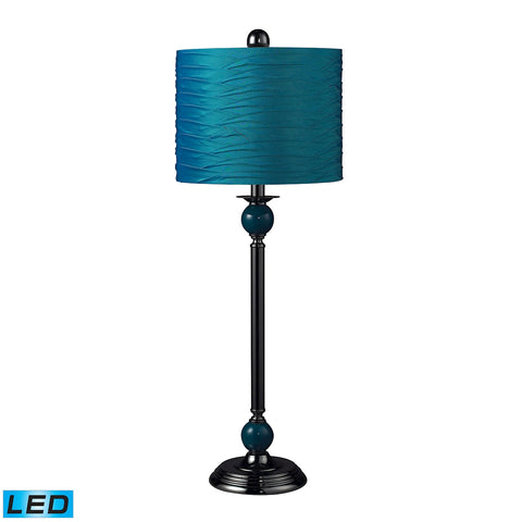 Beautiful Dimond Lighting Carrington Metal LED Buffet Lamp In Turquoise With Pleated Shade