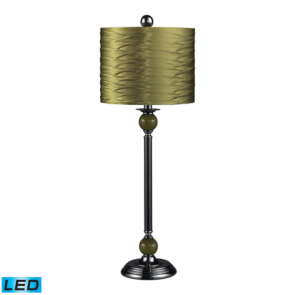 Beautiful Dimond Lighting Carrington Green LED Buffet Lamp in Black Nickel With Pleated Shade
