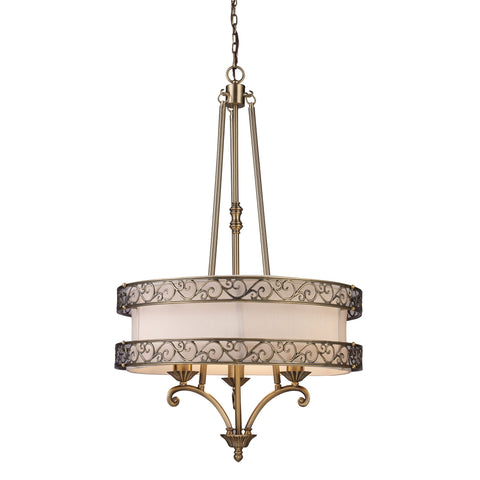 Abington 3 Light Pendelier In Antique Brass