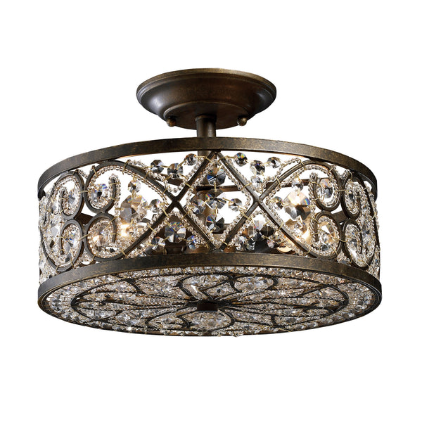 Amherst 4 Light Semi Flush In Antique Bronze