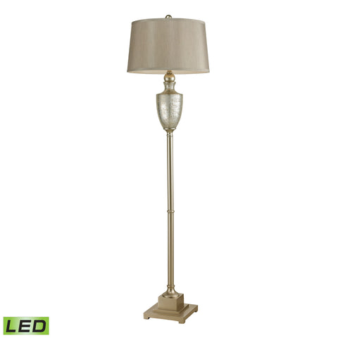 Beautiful Dimond Lighting  Elmira Antique Mercury Glass LED Floor Lamp With Silver Accents  in  Glass, Metal