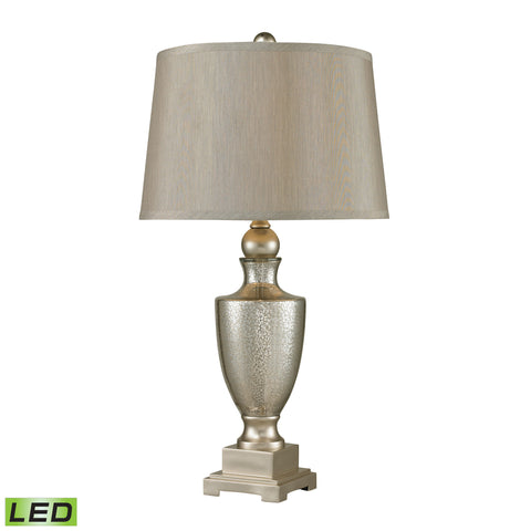 Beautiful Antique Mercury Glass LED Table Lamps With Silver Accents - Set of 2 for your Indoor Lighting.