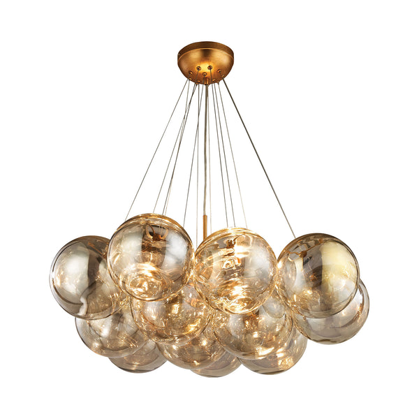 Beautiful Dimond Lighting  Cielo 3 Light Chandelier In Antique Gold Leaf  in  Glass, Metal