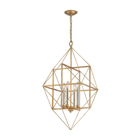Beautiful Connexions 4 Light Pendant In Antique Gold And Silver Leaf for your Indoor Lighting.