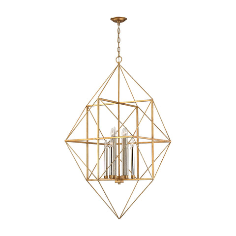 Beautiful Connexions 8 Light Pendant In Antique Gold And Silver Leaf for your Indoor Lighting.