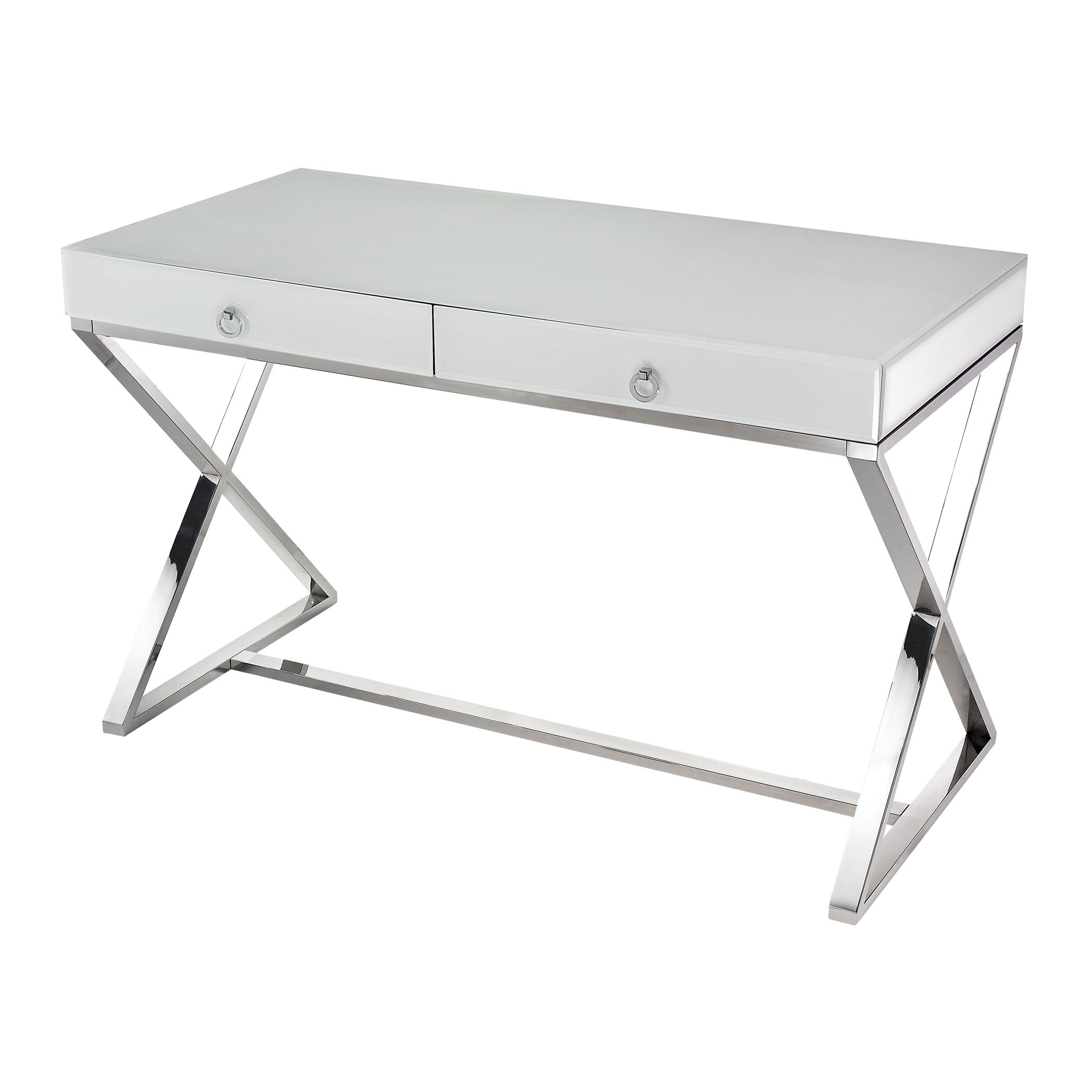 Beautiful Dimond Home  WHITE GLASS DESK  in  Glass, Stainless Steel, Chrome
