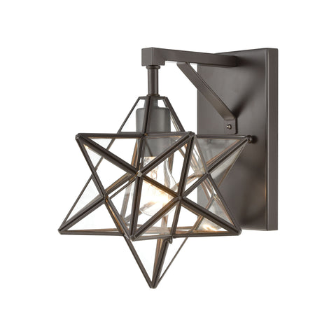 Beautiful Dimond Lighting  Moravian Star Wall Sconce in Oil Rubbed Bronze with Clear Glass  in  Glass, Metal
