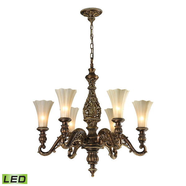 Allesandria 6 Light LED Chandelier In Burnt Bronze And Weathered Gold Leaf