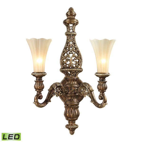 Allesandria 2 Light LED Sconce In Burnt Bronze In Weathered Gold Leaf