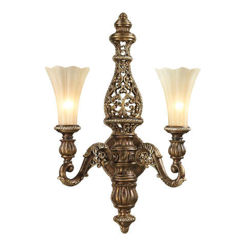 Allesandria 2 Light Sconce In Burnt Bronze In Weathered Gold Leaf