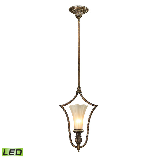 Allesandria 1 Light LED Pendant In Burnt Bronze And Weathered Gold Leaf