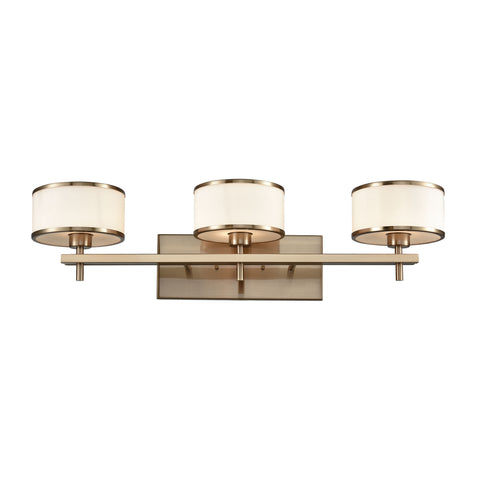 Utica 3 Light Vanity In Satin Brass With Opal White Glass