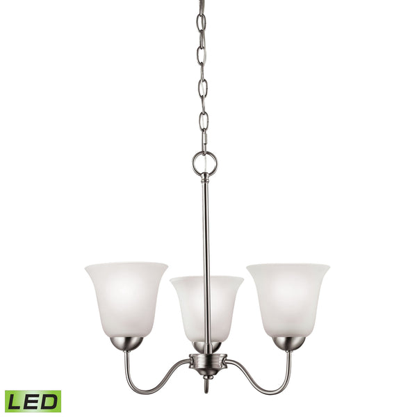 Thomas Conway 3 Light LED Chandelier In Brushed Nickel