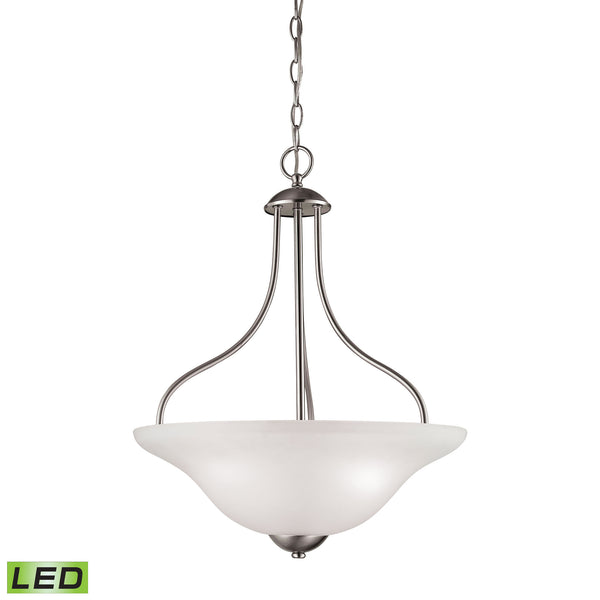 Thomas Conway 3 Light LED Pendant In Brushed Nickel