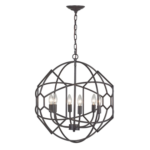 Beautiful Sterling  6 LIGHT RUSTIC IRON ORB CHANDELIER WITH HONEYCOMB METAL WORK  in  Metal
