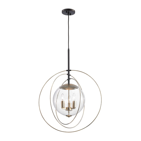 Zonas 3 Light Chandelier In Polished Gold And Oil Rubbed Bronze