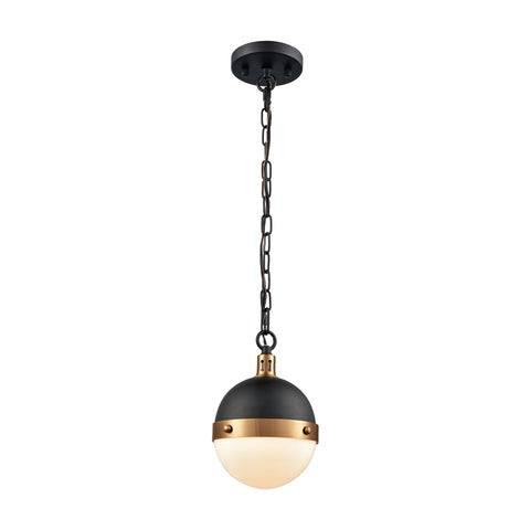 Harmelin 1 Light Pendant In Matte Black And Satin Brass