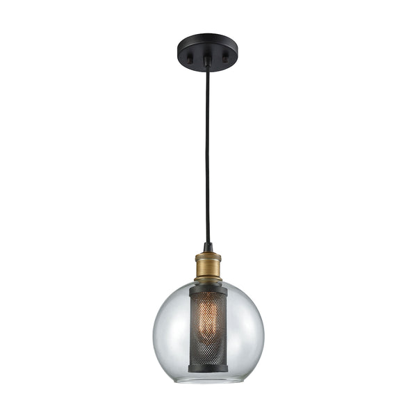 Bremington 1 Light Pendant In Oil Rubbed Bronze/Aged Gold With Clear Glass - Includes Recessed Lighting Kit