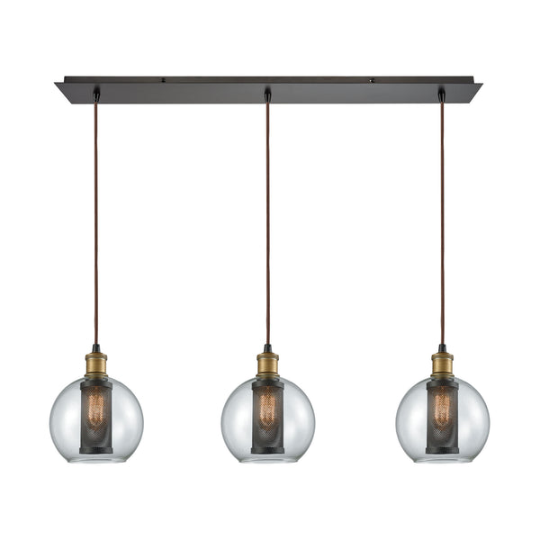 Bremington 3 Light Linear Pan Pendant In Tarnished Brass/Oil Rubbed Bronze With Clear Glass And Perforated Metal Cage