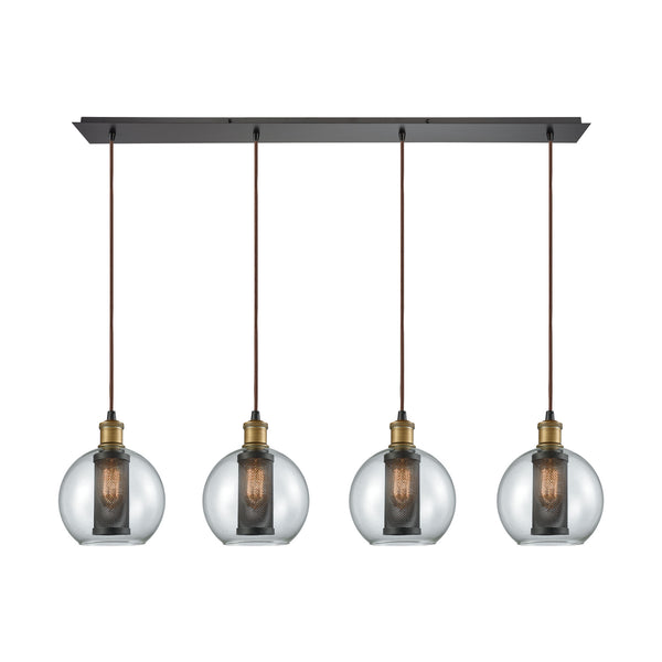 Bremington 4 Light Linear Pan Pendant In Tarnished Brass/Oil Rubbed Bronze With Clear Glass And Perforated Metal Cage