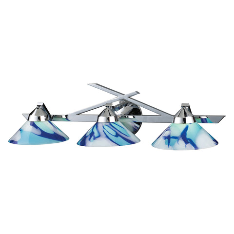 Refraction 3 Light Vanity In Polished Chrome And Carribean Glass