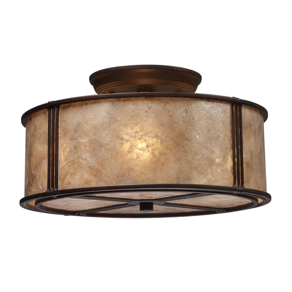 Barringer 3 Light Semi Flush In Aged Bronze And Tan Mica