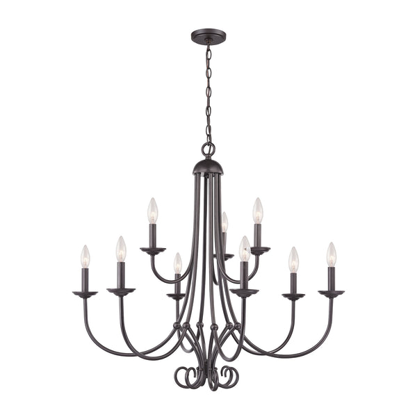 Thomas Williamsport 9 Light Chandelier  In Oil Rubbed Bronze