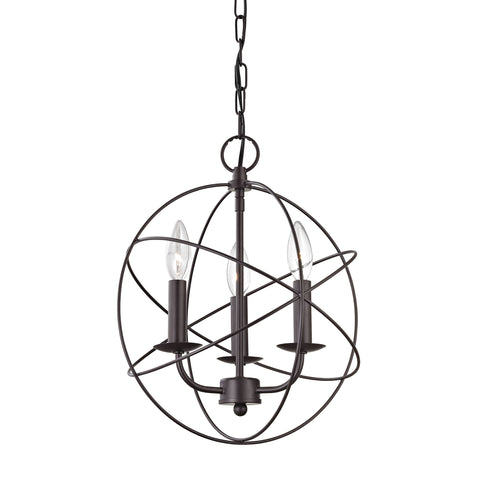Thomas Williamsport 3 Light Chandelier In Oiled Rubbed Bronze