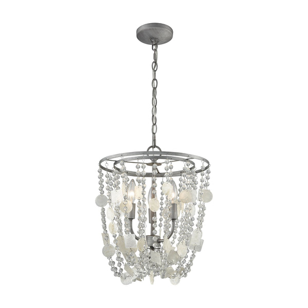 Alexandra 3 Light Chandelier In Weathered Zinc With Capiz Shells And Clear Crystal