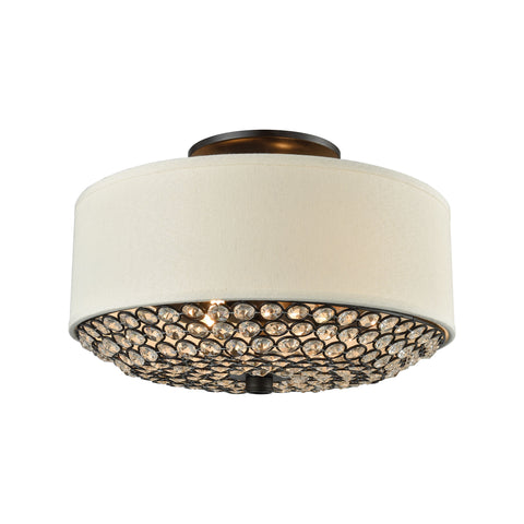 Webberville 2 Light Semi Flush In Oil Rubbed Bronze With Beige Shade And Clear Crystals