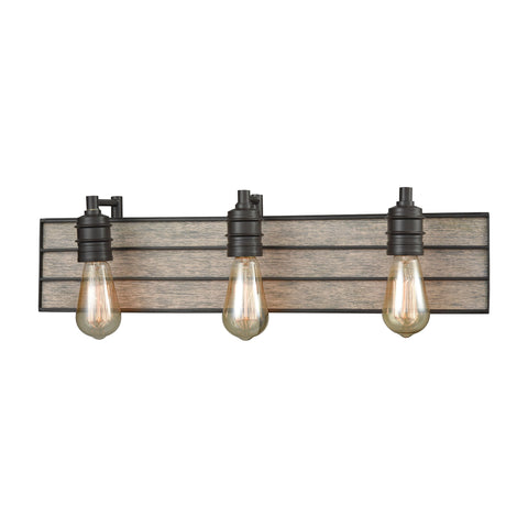 ELK Lighting  Brookweiler 3 Light Vanity in Oil Rubbed Bronze with Washed Wood Backplate