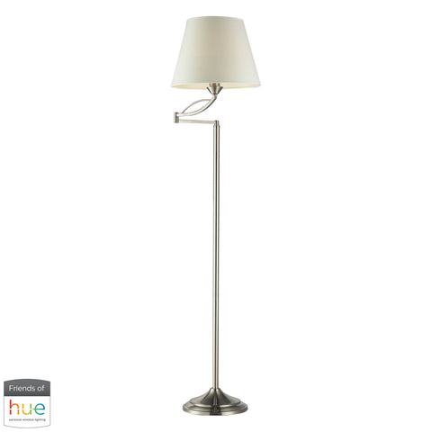 Beautiful Dimond Lighting  Elysburg Floor Lamp in Satin Nickel - with Philips Hue LED Bulb/Dimmer  in  Steel