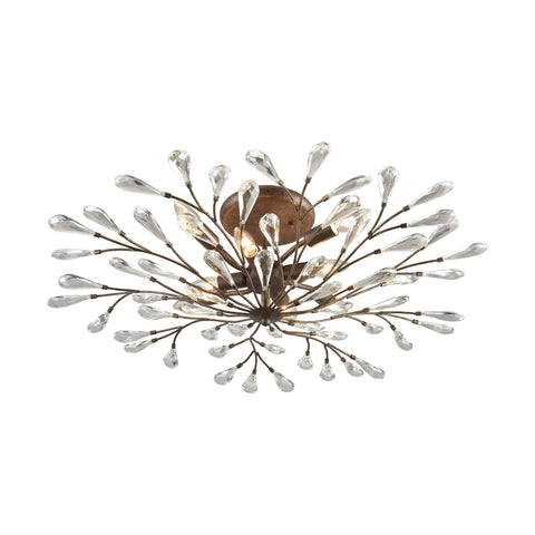 Crislett 8 Light Semi Flush In Sunglow Bronze With Clear Crystal