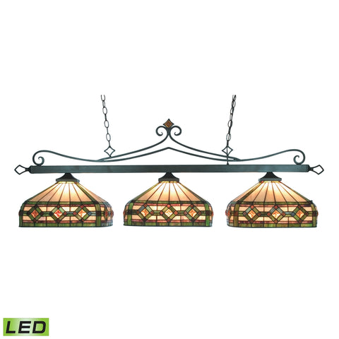 Tiffany Lighting 3 Light LED Billiard In Tiffany Bronze