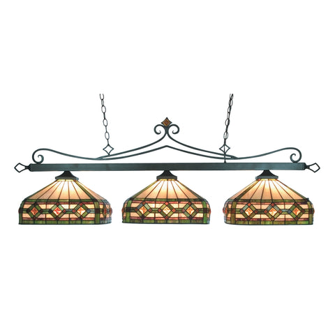 Tiffany Lighting 3 Light Billiard In Tiffany Bronze And Multicolor Tiffany Glass