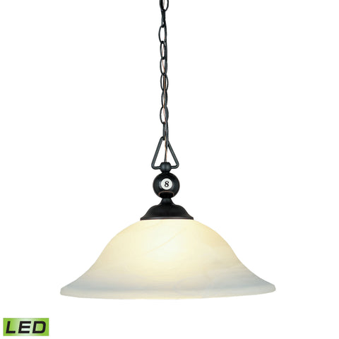 Elk Designer Classics 1 Light LED Pendant In Matte Black And White Faux Alabaster Glass Billiard/Island item number 190-P-BK-G1-LED