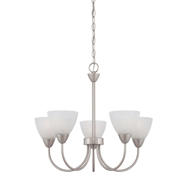 Thomas TIA chandelier Matte Nickel 5x100W 120V