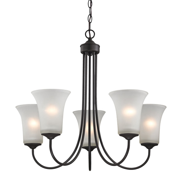 Thomas Charleston 5 Light Chandeier In Oil Rubbed Bronze