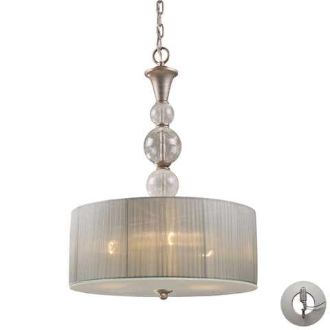 Alexis 3 Light Pendant In Antique Silver With Adapter Kit