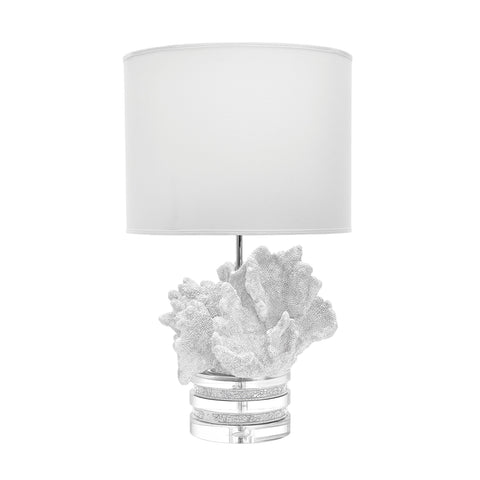Beautiful Dimond Home  White Coral and Crystal Table Lamp with Off-white Suede Shade  in  Crystal, Glass, Resin