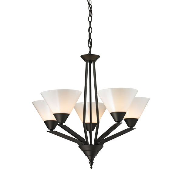 Thomas Tribecca 5 Light Chandelier In Oil Rubbed Bronze