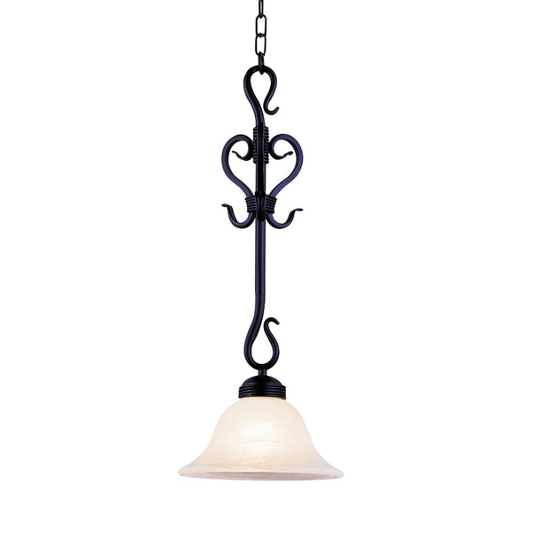 Buckingham 1 Light Pendant In Matte Black And White Faux Marble Glass